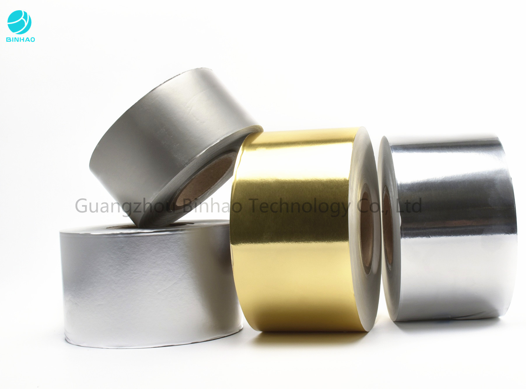 Matt Embossing Gold Silver Aluminium Foil Wrapping Paper In 1500m Bobbin For Cigarette Packaging